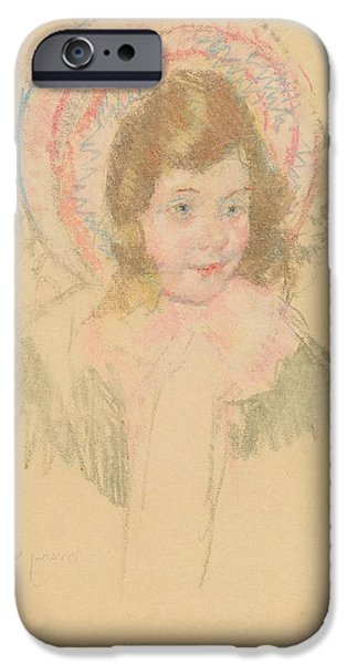 Little Girl iPhone Cases - Sara Wearing A Bonnet And Coat iPhone Case by Mary Cassatt