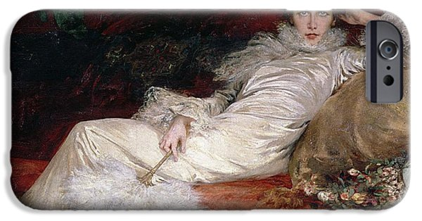 Cushion iPhone Cases - Sarah Bernhardt iPhone Case by Georges Clairin