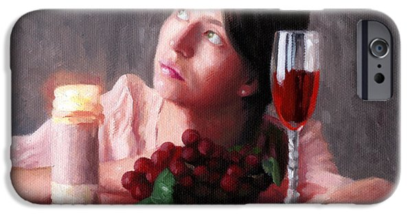 Table Wine iPhone Cases - Sarah iPhone Case by Charles Pompilius