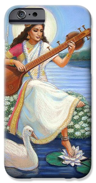 Hindu Goddess iPhone Cases - Sarasvati iPhone Case by Sue Halstenberg