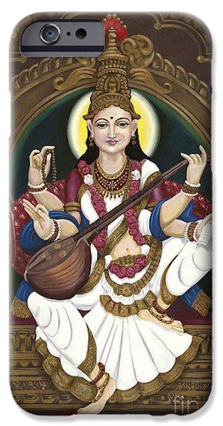Hindu Goddess iPhone Cases - Saraswati iPhone Case by Edward Williams