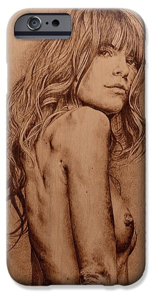 Nudes Pyrography iPhone Cases - Sargasso iPhone Case by Sergey Zernov