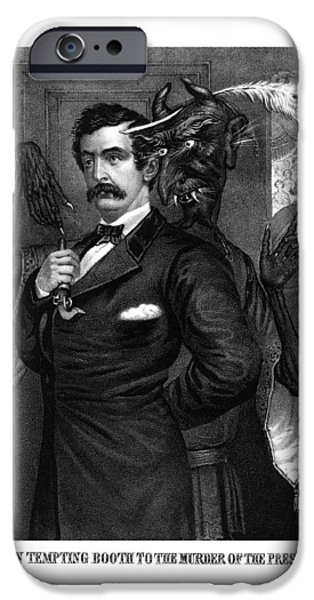 American History iPhone Cases - Satan Tempting John Wilkes Booth iPhone Case by War Is Hell Store