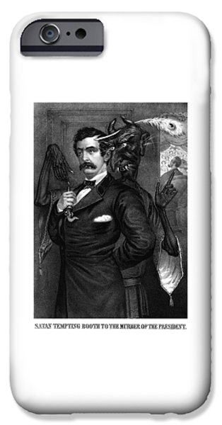 Theater Drawings iPhone Cases - Satan Tempting John Wilkes Booth iPhone Case by War Is Hell Store