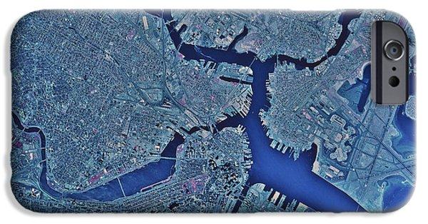City. Boston iPhone Cases - Satellite View Of Boston, Massachusetts iPhone Case by Stocktrek Images