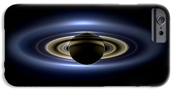 Venus iPhone Cases - Saturn Mosaic with Earth 4x3 iPhone Case by Adam Romanowicz