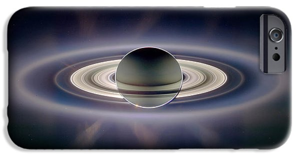 Spacecraft iPhone Cases - Saturn Silhouetted, Cassini Image iPhone Case by Nasajplspace Science Institute