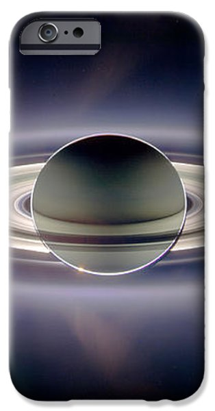 Saturn Silhouetted, Cassini Image iPhone Case by Nasajplspace Science Institute