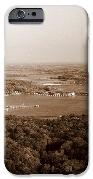 Saugatuck Michigan Harbor Aerial Photograph iPhone Case by Michelle Calkins