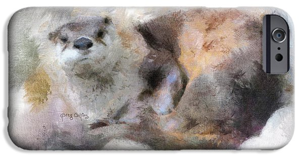Otter Digital Art iPhone Cases - Saukko iPhone Case by Greg Collins
