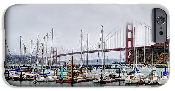 Sausalito iPhone Cases - Sausalito and Golden Gate Bridge iPhone Case by Mark Ruanto