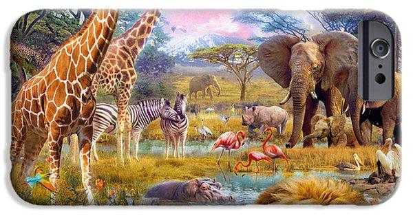 Lion Digital iPhone Cases - Savannah Animals iPhone Case by Jan Patrik Krasny