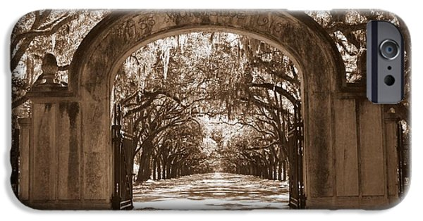 Savannah iPhone Cases - Savannaha Sepia - Wormsloe Plantation Gate iPhone Case by Carol Groenen