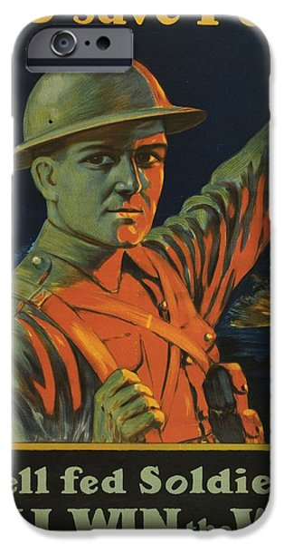 World War One Drawings iPhone Cases - Save Food Poster iPhone Case by Canadian School