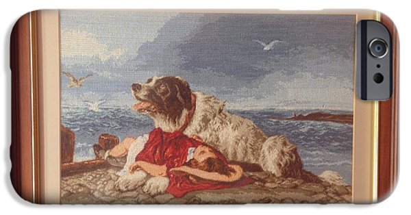 Relationship Tapestries - Textiles iPhone Cases - Saved after Sir Edwin Lanseer  iPhone Case by Maria Filip