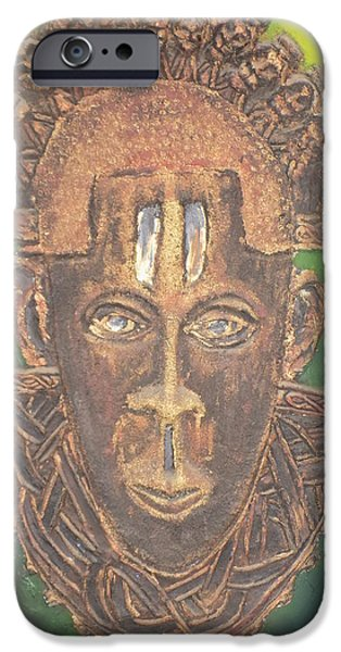 Yellow Reliefs iPhone Cases - Queen Idia of Benin iPhone Case by Olaoluwa Smith
