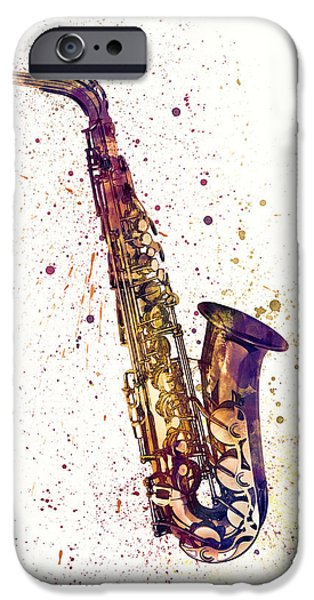 Strings Digital iPhone Cases - Saxophone Abstract Watercolor iPhone Case by Michael Tompsett