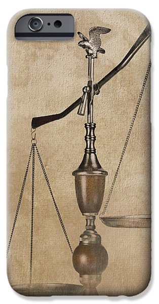 Punishment iPhone Cases - Scales of Justice iPhone Case by Tom Mc Nemar