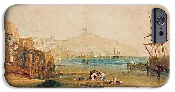 Nature Study Paintings iPhone Cases - Scarborough Town And Castle iPhone Case by William Turner
