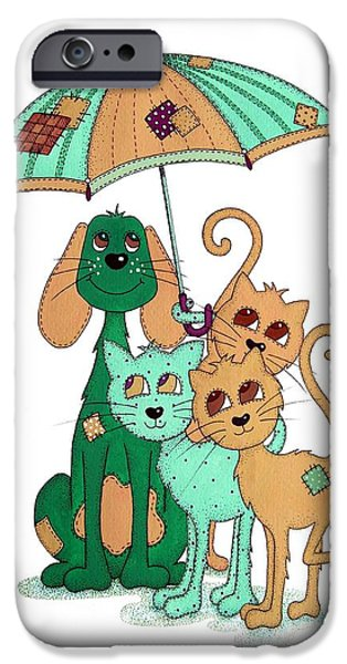 Rain Drawings iPhone Cases - Scarecrow Dog Cats and Brolly iPhone Case by Sandra Moore