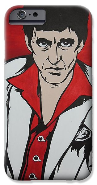 Al Pacino Drawings iPhone Cases - Scarface Painting - Best Offer iPhone Case by Stephanie Robayo