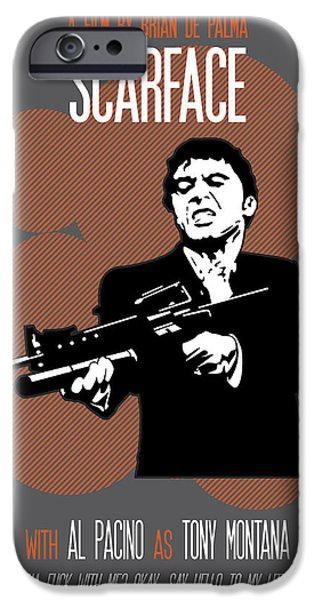 Oliver Stone iPhone Cases - Scarface Say Hello to My Little Friend iPhone Case by Florian Rodarte