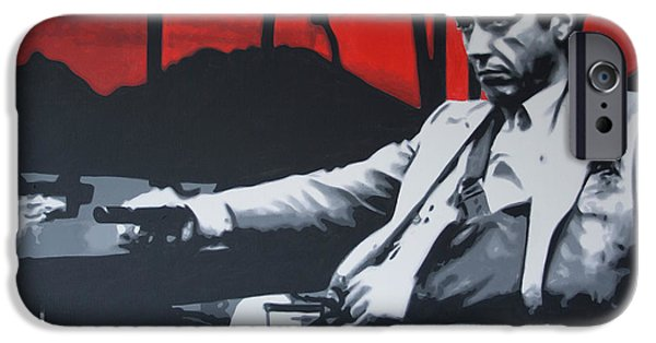 Oliver Stone iPhone Cases - Scarface - Sunset 2013 iPhone Case by Luis Ludzska