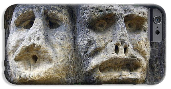Eerie iPhone Cases - Scary Stone Heads iPhone Case by Michal Boubin