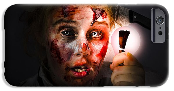 Creepy iPhone Cases - Scary zombie with Halloween idea light bulb iPhone Case by Ryan Jorgensen
