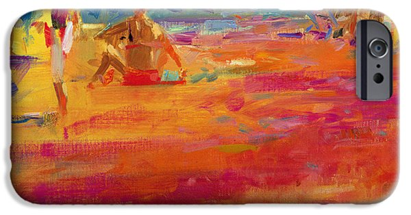 Bathing iPhone Cases - Scene de Plage iPhone Case by Peter Graham