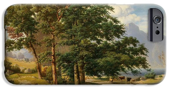 1907 Paintings iPhone Cases - Scene from the Salzkammergut iPhone Case by Celestial Images