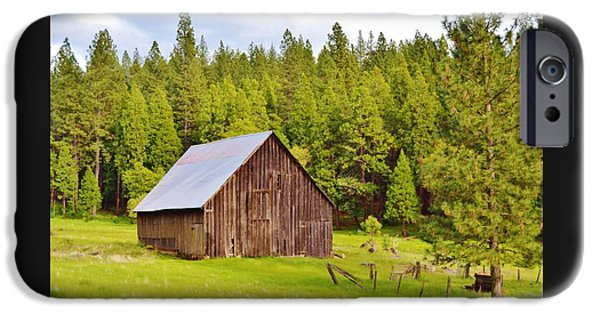 Old Barn iPhone Cases - Scenic Barn In The Forest iPhone Case by Cherie Cokeley