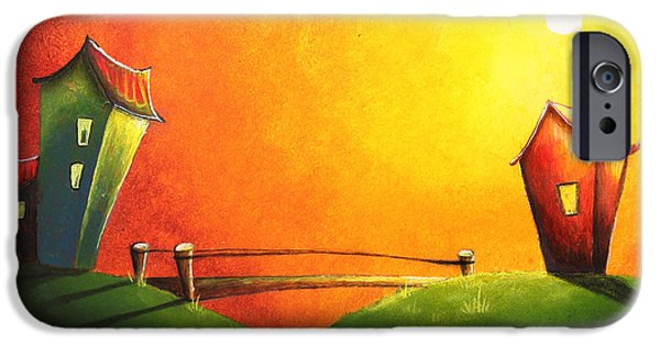 Surreal Landscape Drawings iPhone Cases - Scenic landscape  iPhone Case by Nirdesha Munasinghe