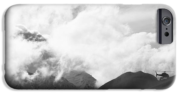 Weekend Activities iPhone Cases - Scenic View Of A Heli Ski Helicopter iPhone Case by Dean Blotto Gray