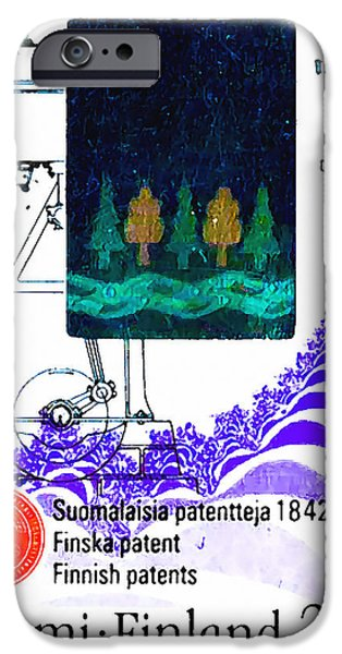 Circuit Paintings iPhone Cases - Scetch of a blower-grader machine iPhone Case by Lanjee Chee
