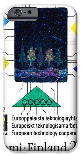 Component Paintings iPhone Cases - Schematic of electronic circuits iPhone Case by Lanjee Chee
