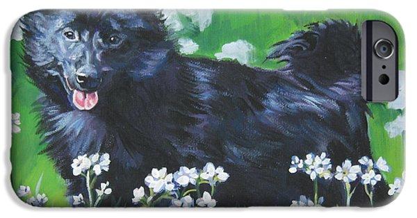 Black Dog iPhone Cases - Schipperke iPhone Case by Lee Ann Shepard