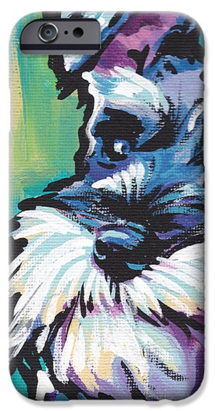 Puppies Paintings iPhone Cases - Schnauzer  iPhone Case by Lea