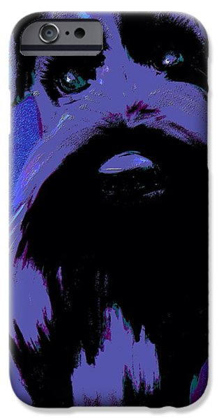 Puppies iPhone Cases - Schnauzer Puppy Poster iPhone Case by Karen Harding