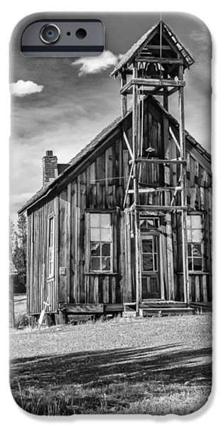 White House Pyrography iPhone Cases - School House BW iPhone Case by Les Clemens