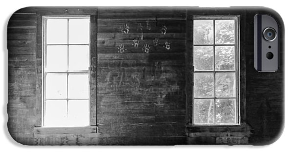 Cabin Window iPhone Cases - Schoolhouse and Handprints iPhone Case by Bill McMannis