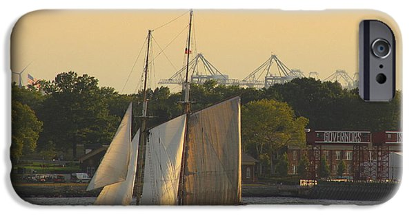 Business Photographs iPhone Cases - Schooner on The New York Harbor iPhone Case by  Photographic Art and Design by Dora Sofia Caputo
