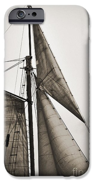 Tall Ship Digital iPhone Cases - Schooner Pride Tall Ship Yankee Sail Charleston SC iPhone Case by Dustin K Ryan