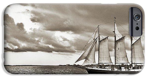 Tall Ship Digital Art iPhone Cases - Schooner Pride Tallship Charleston SC iPhone Case by Dustin K Ryan
