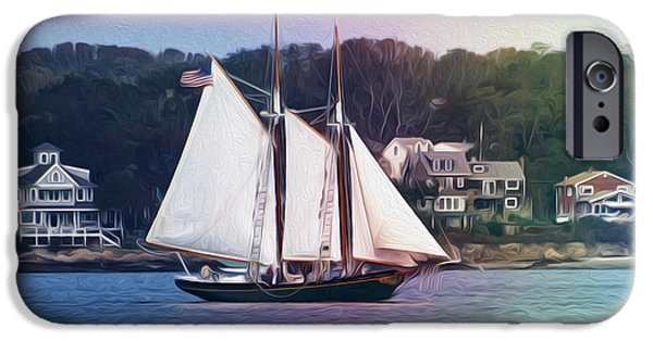 Sailboats iPhone Cases - Schooner iPhone Case by Tom Gari Gallery-Three-Photography