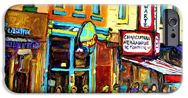 Luncheonettes Paintings iPhone Cases - Schwartzs Hebrew Deli On St. Laurent In Montreal iPhone Case by Carole Spandau