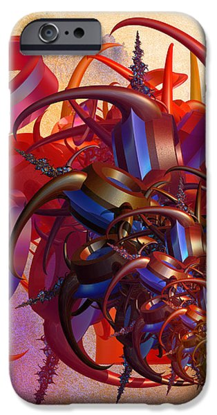 Fractal Orbs iPhone Cases - Sci-fi insect iPhone Case by Gaspar Avila