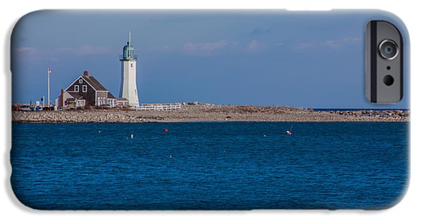 Boston Ma iPhone Cases - Scituate Lighthouse from across the Harbor iPhone Case by Brian MacLean