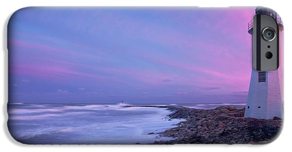 New England Lighthouse iPhone Cases - Scituate Sunset  iPhone Case by Susan Cole Kelly