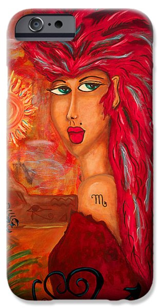 Fury iPhone Cases - Scorpion Desert Goddess iPhone Case by Sofia Dabalsa